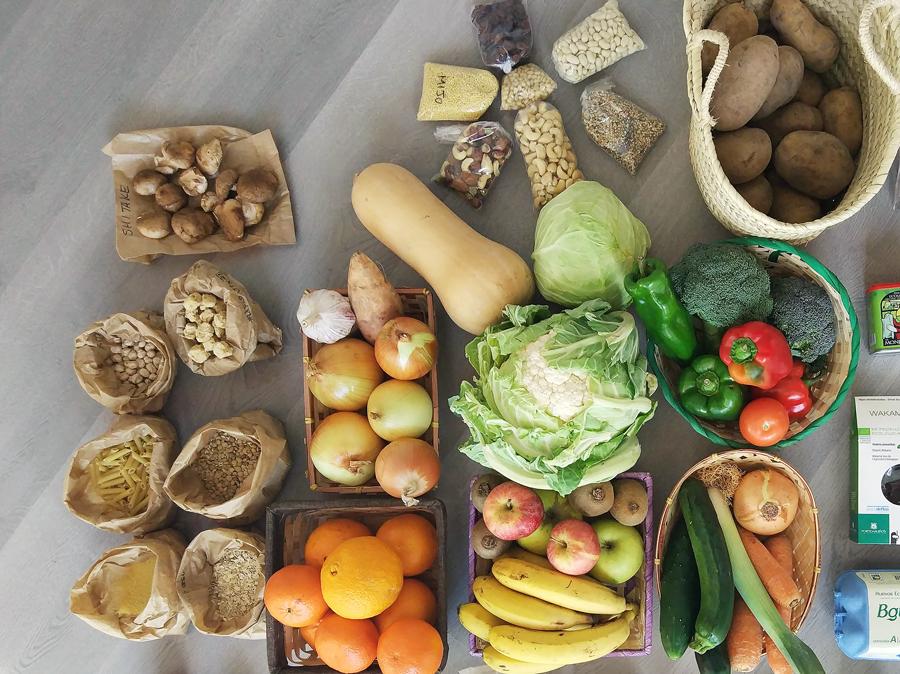 Cesta ecológica semanal a granel con menú