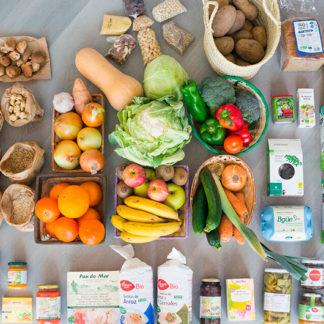 Cesta ecológica semanal con menú